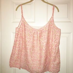 Gap pink orange floral tank top size xl